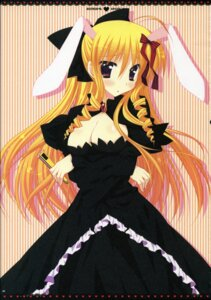 Rating: Safe Score: 31 Tags: animal_ears araiguma bunny_ears cleavage dress hayate_no_gotoku pink tennousu_athena User: Radioactive