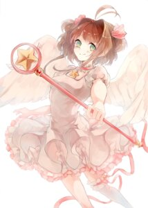Rating: Safe Score: 25 Tags: card_captor_sakura dress garter hozumi_rino kinomoto_sakura thighhighs weapon wings User: charunetra