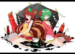 Rating: Safe Score: 11 Tags: animal_ears futatsuiwa_mamizou ideolo inumimi kasodani_kyouko megane tail touhou User: itsu-chan