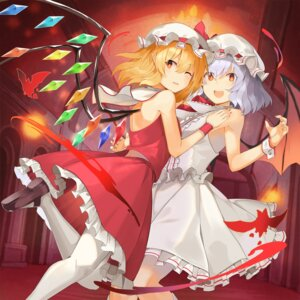 Rating: Safe Score: 24 Tags: flandre_scarlet pantyhose pointy_ears remilia_scarlet rin_falcon skirt_lift touhou wings User: Dreista