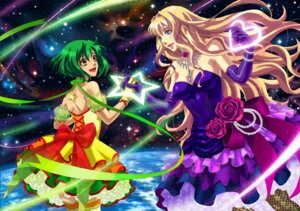 Rating: Safe Score: 13 Tags: dress emi_(penguin908) macross macross_frontier ranka_lee sheryl_nome thighhighs User: Radioactive
