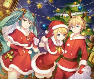 Rating: Safe Score: 30 Tags: animal_ears christmas dress hatsune_miku horns kagamine_len kagamine_rin qingshui_ai thighhighs vocaloid User: Mr_GT