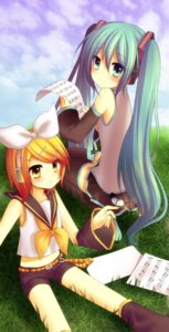 Rating: Safe Score: 15 Tags: amene_kurumi hatsune_miku kagamine_rin thighhighs vocaloid User: charunetra