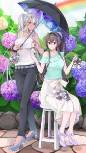 Rating: Safe Score: 25 Tags: heels kantai_collection musashi_(kancolle) umbrella yamato_(kancolle) yuna_(yukiyuna) User: Mr_GT