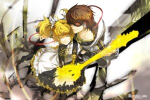 Rating: Safe Score: 19 Tags: dress guitar hiyama_kiyoteru kagamine_rin meltdown_(vocaloid) rahwia vocaloid User: charunetra