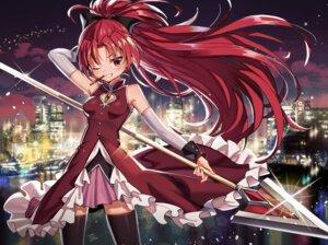 Rating: Safe Score: 14 Tags: anzumame dress puella_magi_madoka_magica sakura_kyouko skirt_lift thighhighs weapon User: Dreista