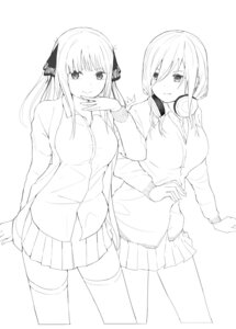 Rating: Safe Score: 14 Tags: 5-toubun_no_hanayome headphones monochrome nakano_miku nakano_nino pjkka seifuku sketch sweater thighhighs User: Dreista