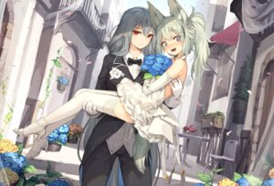 Rating: Safe Score: 27 Tags: animal_ears arknights crossdress dress grani_(arknights) heels jakoujika skadi_(arknights) tagme thighhighs wedding_dress yuri User: BattlequeenYume