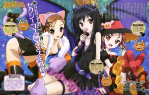Rating: Safe Score: 57 Tags: accel_world animal_ears cleavage garter halloween horns kouzuki_yuniko kurashima_chiyuri kuroyukihime nekomimi sawada_mika tail thighhighs witch User: PPV10