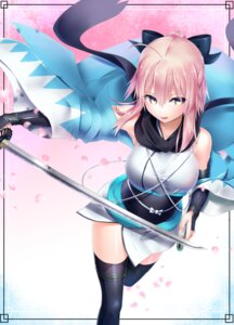 Rating: Safe Score: 45 Tags: celeryma fate/grand_order japanese_clothes sakura_saber sword thighhighs User: mash