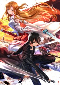 Rating: Safe Score: 42 Tags: asuna_(sword_art_online) kirito sword sword_art_online swordsouls thighhighs User: RyuZU