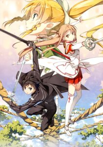Rating: Safe Score: 93 Tags: 5_nenme_no_houkago asuna_(sword_art_online) fairy kantoku kirito leafa pointy_ears sword sword_art_online thighhighs User: Hatsukoi