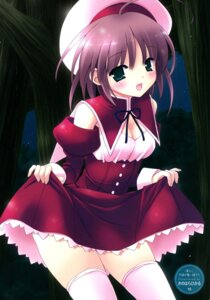 Rating: Questionable Score: 14 Tags: cleavage kinohara_hikaru skirt_lift thighhighs User: fireattack