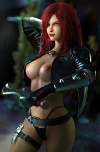 Rating: Questionable Score: 20 Tags: armor breasts garter katarina_du_couteau league_of_legends nipples no_bra open_shirt pantsu sevenbees sword thong User: Darkthought75