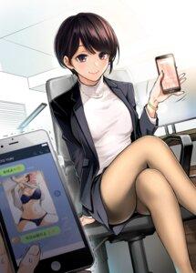 Rating: Questionable Score: 39 Tags: bra business_suit dojirou pantsu pantyhose skirt_lift User: Arsy