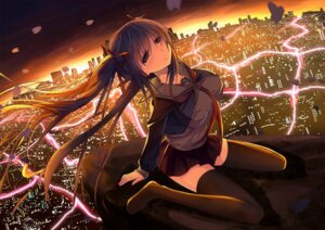 Rating: Safe Score: 67 Tags: hatsune_miku landscape seifuku thighhighs tianya_beiming vocaloid User: guziming