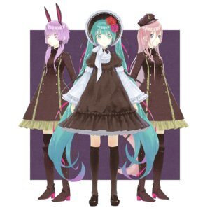Rating: Safe Score: 3 Tags: animal_ears bunny_ears dress gothic_lolita hatsune_miku heels ia_(vocaloid) lolita_fashion rsk thighhighs uniform vocaloid yuzuki_yukari User: WhiteExecutor