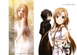 Rating: Questionable Score: 44 Tags: armor ass asuna_(sword_art_online) bathing censored kawakami_tetsuya kirito nakamura_naoto sword sword_art_online wet User: drop