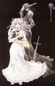 Rating: Safe Score: 2 Tags: akabane_kuroudo ayamine_rando blood dress get_backers makube-hakase sword User: charunetra