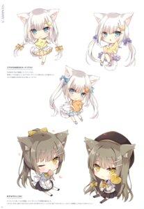 Rating: Safe Score: 14 Tags: animal_ears chibi hoshi nekomimi seifuku User: BattlequeenYume