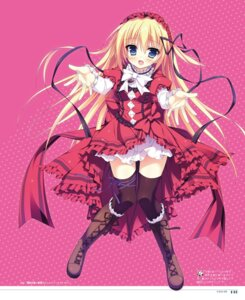Rating: Safe Score: 40 Tags: dress gothic_lolita hangyaku_no_dreadnought lolita_fashion shiromochi_sakura summer_dress thighhighs User: Twinsenzw