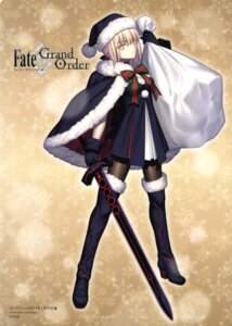 Rating: Safe Score: 52 Tags: christmas dress fate/grand_order heels pantyhose saber saber_alter sword takeuchi_takashi User: drop