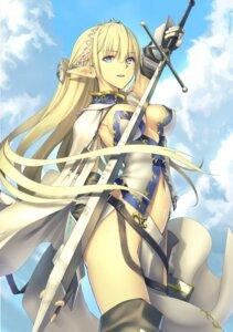 Rating: Questionable Score: 57 Tags: armor cleavage elf hazure-waku_no_[joutai_ijou_skill]_de_saikyou_ni_natta_ore_ga_subete_wo_juurin_suru_made kawanakajima no_bra pointy_ears sword thighhighs User: Nepcoheart