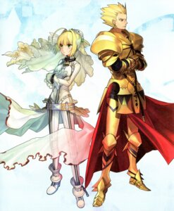 Rating: Safe Score: 21 Tags: fate/extra fate/extra_ccc fate/stay_night gilgamesh_(fsn) paper_texture saber_extra type-moon wada_rco User: Radioactive