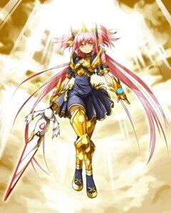 Rating: Safe Score: 25 Tags: armor crossover kamen_rider kamen_rider_blade kaname_madoka kanekotsu kyubey puella_magi_madoka_magica sword thighhighs User: Kaixa