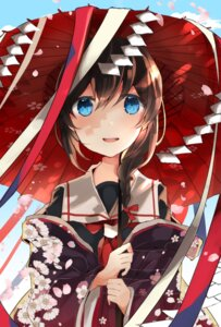 Rating: Safe Score: 39 Tags: kantai_collection kimono kumahara open_shirt seifuku shigure_(kancolle) umbrella User: Mr_GT
