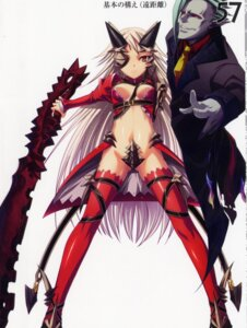 Rating: Questionable Score: 18 Tags: aldra armor cleavage delmore devil eyepatch horns kantaka maebari queen's_blade sword thighhighs User: admin2