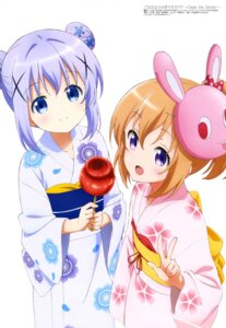 Rating: Safe Score: 58 Tags: gochuumon_wa_usagi_desu_ka? hoto_cocoa kafuu_chino ogawa_akane yukata User: drop