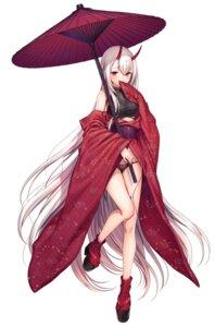 Rating: Safe Score: 110 Tags: heels horns kimono komeshiro_kasu open_shirt pantsu pointy_ears umbrella User: Twinsenzw