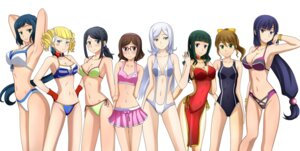 Rating: Questionable Score: 64 Tags: aila_jyrkiainen gundam gundam_build_fighters iori_rinko kenken kousaka_china swimsuits User: Ravenblitz