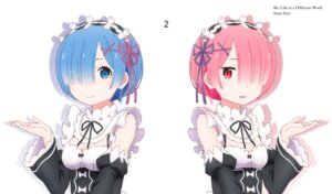 Rating: Safe Score: 64 Tags: cleavage maid ram_(re_zero) re_zero_kara_hajimeru_isekai_seikatsu rem_(re_zero) sakai_kyuuta User: xiaowufeixia