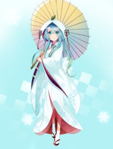Rating: Safe Score: 38 Tags: hatsune_miku kimono see_through temari_(artist) umbrella vocaloid yuki_miku User: charunetra