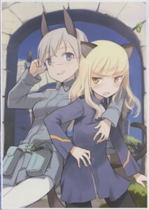Rating: Questionable Score: 16 Tags: animal_ears breast_grab eila_ilmatar_juutilainen megane pantyhose perrine-h_clostermann shimada_humikane strike_witches tail uniform yuri User: Arilando