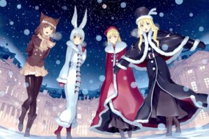 Rating: Safe Score: 30 Tags: alice alice_in_wonderland animal_ears bunny_ears cheshire_cat fancy_fantasia march_hare nekomimi pantyhose queen_of_hearts ueda_ryou User: blooregardo