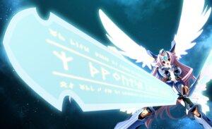 Rating: Safe Score: 41 Tags: armor bodysuit game_cg shirogane_no_soleil skyfish sol_valkyrie sword tsurugi_hagane wings User: fireattack