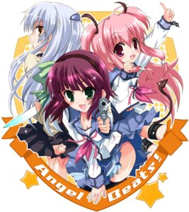 Rating: Safe Score: 20 Tags: angel_beats! gun hizuki_yayoi seifuku tenshi yui_(angel_beats!) yurippe User: Radioactive