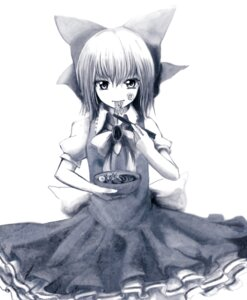 Rating: Safe Score: 7 Tags: cirno dress eruza monochrome touhou User: charunetra