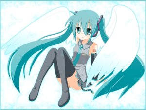Rating: Safe Score: 13 Tags: hatsune_miku minami thighhighs vocaloid wallpaper wings User: Radioactive