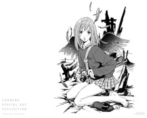 Rating: Safe Score: 8 Tags: flcl monochrome sadamoto_yoshiyuki samejima_mamimi wallpaper User: Radioactive