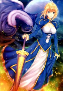 Rating: Safe Score: 7 Tags: cleavage dress fate/stay_night saber skirt_lift sword tagme User: Radioactive