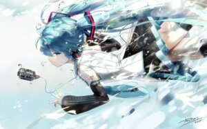 Rating: Safe Score: 38 Tags: hatsune_miku headphones kuroi_asahi signed tattoo thighhighs vocaloid User: RyuZU