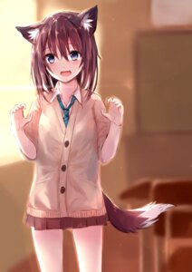 Rating: Safe Score: 56 Tags: animal_ears kitsune seifuku sukemyon sweater tail User: charunetra
