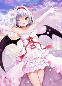 Rating: Questionable Score: 54 Tags: dress hyurasan remilia_scarlet touhou wedding_dress wings User: Deadhunt