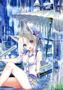 Rating: Questionable Score: 56 Tags: amakawa_sakko animal_ears see_through seifuku sword wet wet_clothes User: Twinsenzw