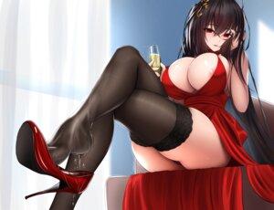 Rating: Questionable Score: 137 Tags: areola azur_lane damao_yu dress feet heels no_bra pantsu skirt_lift taihou_(azur_lane) thighhighs thong wet User: BattlequeenYume