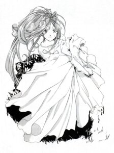 Rating: Safe Score: 3 Tags: ah_my_goddess belldandy fujishima_kousuke monochrome User: minakomel